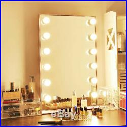 Hollywood Makeup Vanity Mirror 12 LED Lights Tabletop Wall Mount Aluminum Frame