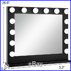 Hollywood Makeup Vanity Mirror Lighted Mirror Dimmer Black+FREE LED Bulbs