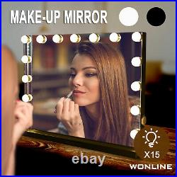 Hollywood Makeup Vanity Mirror with 15pcs Dimmable LED Bulbs USB White / Black