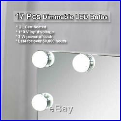 Hollywood Makeup Vanity Mirror with Light Aluminum Stage Beauty Mirror 17 LED