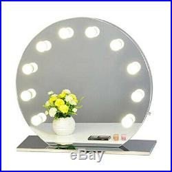 Hollywood Makeup Vanity Mirror with Light Stainless Steel Stage Beauty Mirror