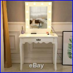 Hollywood Makeup Vanity Mirror with Warm Light LED Stage Beauty Mirror withStool