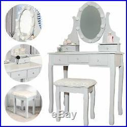 Hollywood Modern Dressing Table with Vanity Mirror Lights Stool Dresser Set Grey