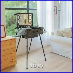 Hollywood Rolling Makeup Case Train Makeup Vanity Mirror Box Cosmetic LED Light
