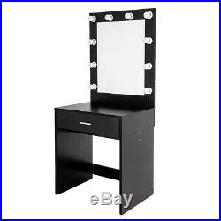 Hollywood Style Lighted Makeup Mirror Vanity Table Set With 10 Warm Led Black
