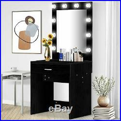Hollywood Style Lighted Makeup Mirror Vanity Table Set With 10 White Led Black