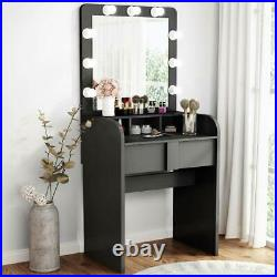 Hollywood Vanity 9 Bulbs Dressing Table Set Makeup Desk with Mirror and Drawer