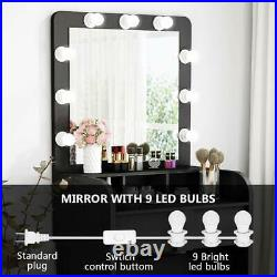 Hollywood Vanity 9 Led Bulbs Dressing Table Set Makeup Desk with Mirror Brand New