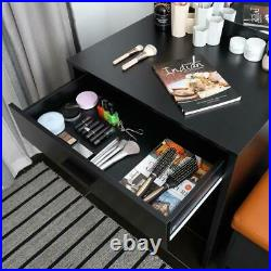 Hollywood Vanity Makeup Dressing Table Stool Set Lighted Mirror With10 LED Bulbs