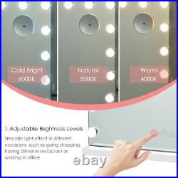 Hollywood Vanity Makeup LED Mirror Touch Control Magnification Bluetooth Speaker