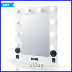 Hollywood Vanity Mirror BT Speaker, 10 LED Light Bulbs, Dual USB Outlets, Remote
