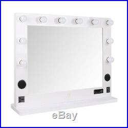 Hollywood Vanity Mirror Bluetooth Audio Speakers Light Bulbs USB Ports SD Outlet