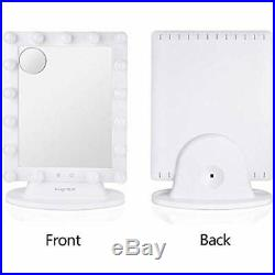 Hollywood Vanity Mirror, Dimmable Lighted Makeup With Lights, Cosmetic Sets 10X