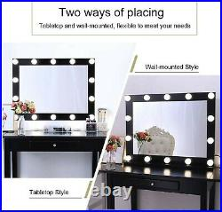 Hollywood Vanity Mirror with Lights 3 Color Modes, Black Dressing Table Mirro