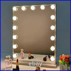 Hollywood Vanity Mirror with Lights, Dimmable Tabletop/Wall Cosmetic Silver