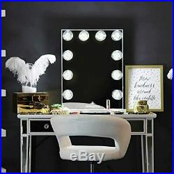 IMPRESSIONS White Glow Lite Vanity Mirror 10 LED Dimmable Lights Hollywood USB