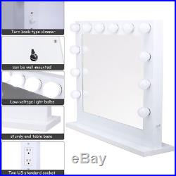 LED Hollywood Makeup Mirror Vanity Light Aluminum Dimmer White+FREE 14 bulbs USA