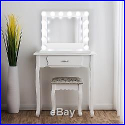 LED Lighted Vanity WH Hollywood Makeup Mirror 31x25 Table or Wall Mount PlugIn