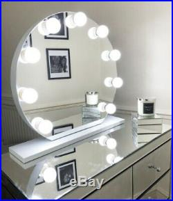 LITE Hollywood Round Makeup White 9 Bulb Dimmable Vanity Mirror with bluetooth