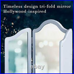 LUXFURNI Hollywood Large Vanity Trifold Makeup Mirror 3 Side Folding Tabletop