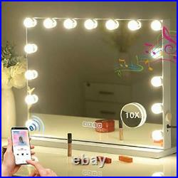 Large Bluetooth Mirror Vanity Makeup with Lights, Hollywood Lighted White