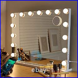 Large Bluetooth Vanity Mirror, Makeup Mirror with Lights Hollywood Mirror with 3