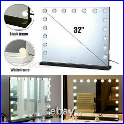 Large Frameless Hollywood Lighted Makeup Mirror w 17 Dimmable LED Vanity Lights