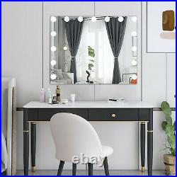 Large Frameless Hollywood Lighted Makeup Mirror with15 Dimmable LED Vanity Lights