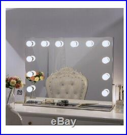 Large Frameless Hollywood Vanity Makeup Tabletop Mirror With Dimmer Lights