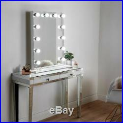 Large Hollywood Lighted Mirror Vanity Makeup Dimmable LED Bulbs Freestanding New