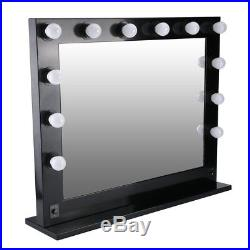 Large Hollywood Makeup Mirror 12 LED Bulb Light Tabletop Vanity Mirror Black MAX