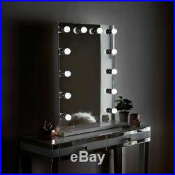 Large Hollywood Makeup Mirror Lighted Vanity Dimmable LED Bulbs Mains Powered