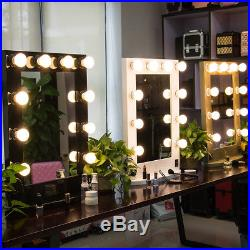 Large Hollywood Makeup Mirror Tabletop Vanity Lighted Dimmable 12 FREE LED Bulbs