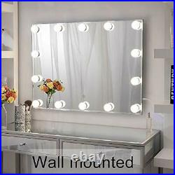 Large Hollywood Makeup Mirror with 14 LED Lights, Lighted Vanity Mirror for