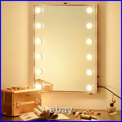 Large Hollywood Vanity Makeup Mirror Lighted 12pcs Dimmable LED Tabletop/Wall