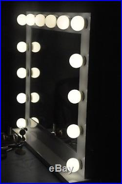 Large Hollywood Vanity Mirror 32 x 26, with Dimmer, 14 LED, USB & Electric Ports