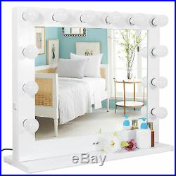 Large Vanity LED Mirror Light Makeup Hollywood Dimmer Tabletop with14 LED Blubs