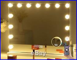 Large Vanity Makeup Mirror with Lights, Bluetooth Hollywood Lighted Dressing or