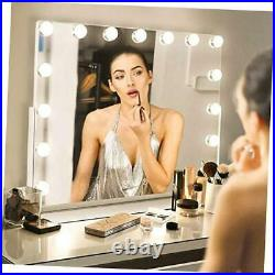 Large Vanity Makeup Mirror with Lights, Hollywood Mirror with 15 LED Bulbs, 3