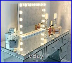Large Vanity Makeup Mirror with Lights, Hollywood Space Drawers Dressing Tabletop
