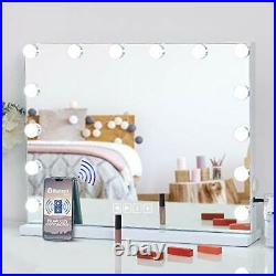 Large Vanity Mirror with Lights and Bluetooth Speaker, Hollywood Lighted