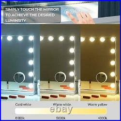 Large Vanity Mirror with Lights and Blutooth Speaker, Hollywood Lighted White
