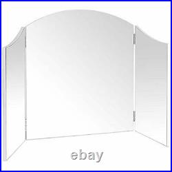 Large Vanity Trifold Makeup Mirror Folding Tabletop Hollywood Cosmetic Mirror