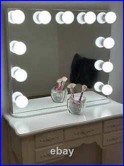 Large frameless 31 X 27 Hollywood vanity makeup mirror tabletop and wall mount