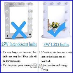 Lighted Vanity Makeup Mirror Hollywood LED Dimmer White Tabletop Wall Party Prep