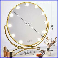 Lighted Vanity Mirror Hollywood Style Makeup Tabletops, Gold Round Mirror