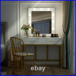 Makeup Dressing Table with 9 Light Bulbs 2 Drawers Hollywood Vanity Mirror Desk