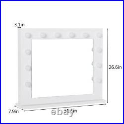 Makeup Hollywood White Vanity Mirror with Light Stage Large Beauty Mirror Dimmer
