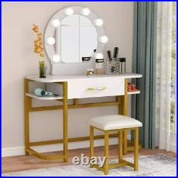 Makeup Table with Stool & Mirror, Vanity Set with 8 Hollywood LED Light Bulbs US