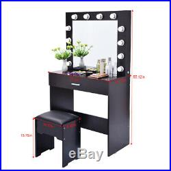 Makeup Vanity Dressing Table Set Dresser Desk with12 LED Light Hollywood Mirror AA